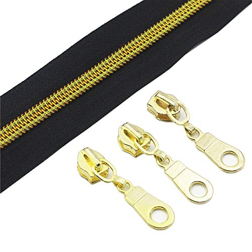 YaHoGa #5 Gold Metallic Nylon Coil Zippers by The Yard Bulk Black Tape 10 Yards with 25pcs Gold Sliders for DIY Sewing Tailor Craft Bag (Gold Black)