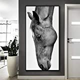 N / A Black and White Horse Canvas Painting Animal Pictures Living Room Art Wall Modern Home Decoration Poster Frameless 80x130cm