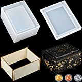 Tissue Box Resin Silicone Mold Jewelry Storage Box Mold Napkin Holder Mold Epoxy Resin Casting Mould with 4 Pieces Wooden Boards and 3 Boxes Gold Foils Flakes for DIY Craft Home Decoration