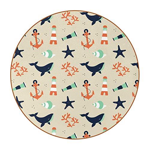 6 posavasos duraderos con patrón de moda con base de cuero de microfibra para tazas de vidrio, taza de café, lindo marinero con ballena