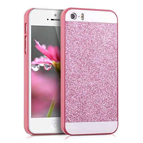kwmobile Funda Compatible con Apple iPhone SE (1.Gen 2016) / 5 / 5S - Carcasa Trasera Protectora para móvil - Cover Purpurina Brillante Rosa Fucsia/Blanco