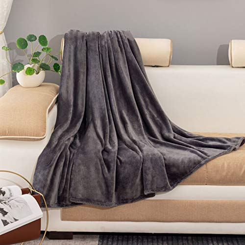 Manta para Sofá de Franela ,Velvet Manta Suave con Tacto de Terciopelo,Microfibre Extra Suave (Gris, 200_x_230_cm)