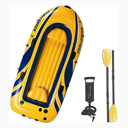 Bote Inflable para 3 Personas, Juego De Kayak Inflable, con 2 Cojines Y Cuerda Balsa Inflable Bote De Remos Adecuado para Pesca, Buceo A La Deriva, Diversión En El Agua