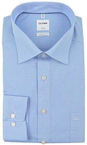OLYMP Herren Oberhemd Langarm Luxor,Karo,Comfort fit,New Kent,Bleu 11,43