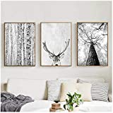 YANGDINGYAO Leinwand Malerei Moderne Wandkunst Grau Weiß
