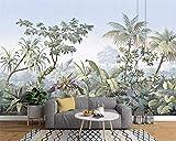Yisj Papier peint arbres dessinés à la main rétro forêt tropicale banane coco arbre mur papier TV fond 3d fond...
