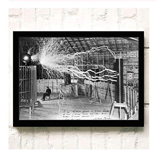 NVRENHUA Berühmte Wissenschaftler Nikola Tesla Poster und Drucke schwarz und weiß Leinwand Malerei Wandkunst Bild 42x60cm Rahmenlos