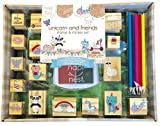 Hapinest Unicorn and Friends Wooden Stamp and Sticker Set for Kids Girls 68 Pieces Arts and Crafts...