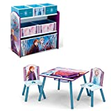 Delta Children Kids Table and Chair Set with Storage (2 Chairs Included) Plus Design & Store 6 Bin Toy Storage Organizer - Ideal for Arts & Crafts, Homeschooling, Homework & More, Disney Frozen II