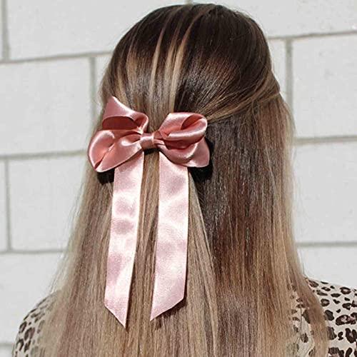 Yheakne Lazos de satén para el pelo de seda con lazo, lazos de satén para el pelo con lazo, lazo elástico para cola de caballo, accesorios para el cabello para mujeres y niñas (rosa frijol)