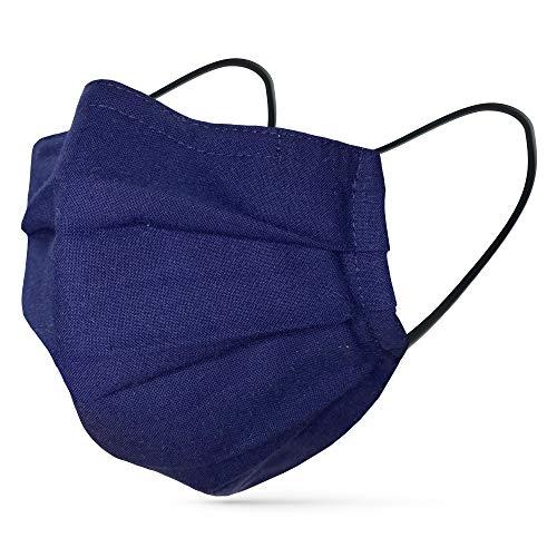 tanzmuster ® Gesichtsmaske für Erwachsene - Stoffmaske mit Nasenbügel und Filtertasche - Alltagsmaske waschbar - 100% Baumwolle OEKO-TEX Standard 100. Hauchdünn dunkelblau M/L