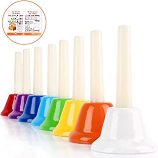 Handbells, Rhythm Band Hand Bells 8 Note Musical Bells with Colorful Songbook for Toddlers Children Kids Adults School Church Classroom Wedding, by Vangoa