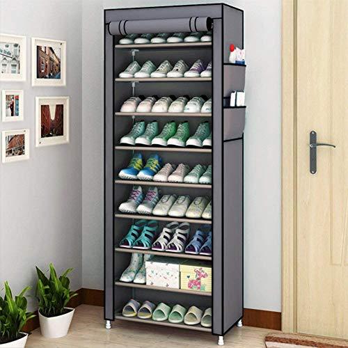 Zapatero Ejoyous, resistente al polvo, para guardar zapatos, organizador de zapatos con cubierta a prueba de polvo para el pasillo de salón de aprox. 27 pares de zapatos beige 58 x 28 x 160 cm