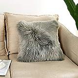 Funda de cojín de piel sintética de lujo, suave, decorativa, cuadrada, para salón, sofá, dormitorio, coche, 45 x 45 cm, color gris