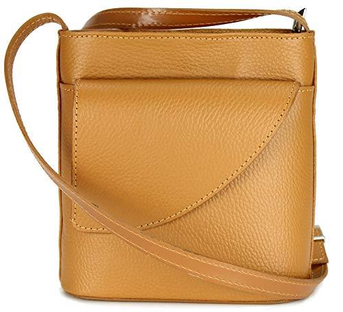 Belli ital. Ledertasche Damen Umhängetasche Handtasche Schultertasche mit zusätzlichem Klappfach in cognac - 18,5x18,5x7cm (B x H x T)