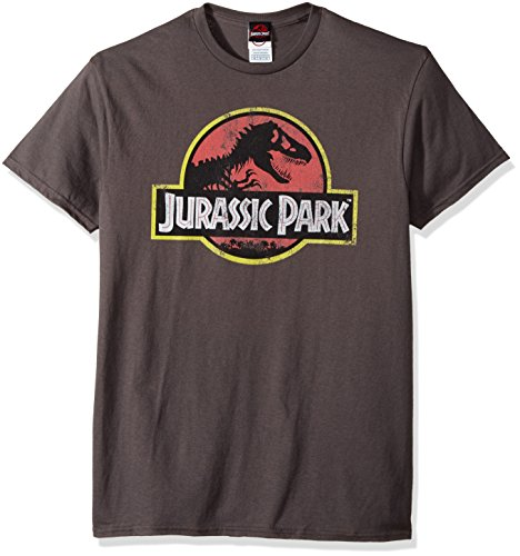 Jurassic Park Men's Movie Logo T-Shirt, Charcoal, Large
