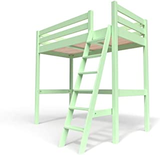 ABC MEUBLES - Lit Mezzanine Sylvia avec échelle Bois - SYLVIAECH - Vert Pastel, 90x20
