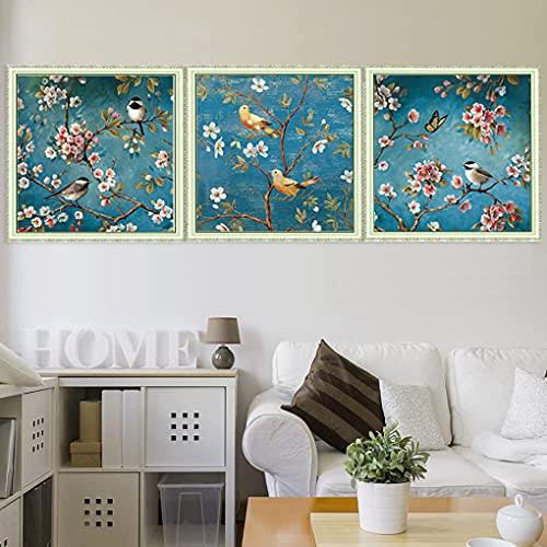 Maysurban Stickerei Set Kreuzstich Starter Kit Vorgezeichnet zum Sticken Stickset zum Selbersticken mit Vögel und Blumen 45x45cm/Jeder