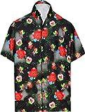 LA LEELA Men's Beach Outwear Regular Fit Hawaiian Shirts for Men XL Black_Aa207