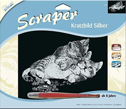 MAMMUT 137005 - Kratzbild, Motiv Kätzchen, silber, glänzend, quer, Komplettset mit Kratzmesser und Übungsblatt, Scraper, Scratch, Kritzel, Kratzset für Kinder ab 8 Jahre