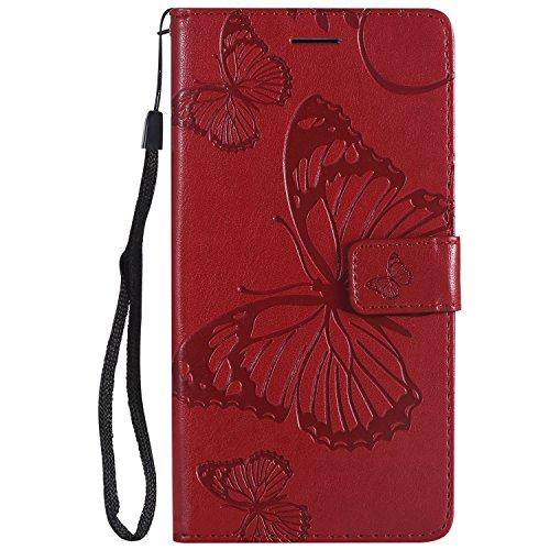 Generic Handyhülle für LG Stylo 3 / LG Stylo3 Plus/Stylus 3 Hülle Leder Schutzhülle Brieftasche mit Kartenfach Magnetisch Stoßfest Handyhülle Case für LG Stylo 3 Plus - XIKAT041556 Rot