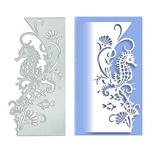 Troquel de corte P12cheng para hacer tarjetas, troquel de corte de metal de caballito de mar, plantilla para manualidades, álbumes de recortes, decoración de papel y manualidades plata
