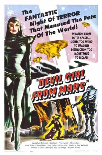 Devil Girl From Mars cartel 02 lona A2 42 x 60 cm Caja grande de 16 x 60,96 cm impresión lienzo