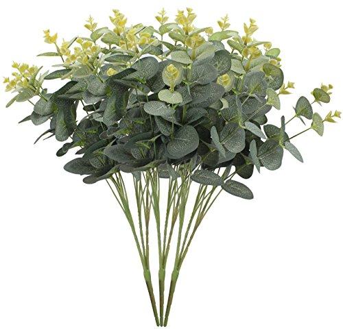 xiuer 3pcs artificial eucalipto hojas verdes artificial planta vacaciones boda decoración del hogar accesorios
