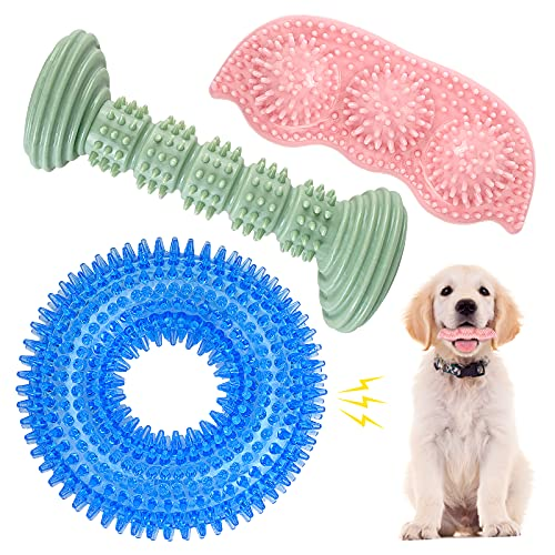 Dog Chew Toys for Puppy Teething, 3Pack 2-8 Months Puppies Teething Toys Soft & Durable Puppy Toys for Cleaning Teeth and Protects Oral Health Both Small Dogs & Medium Dog Suitable