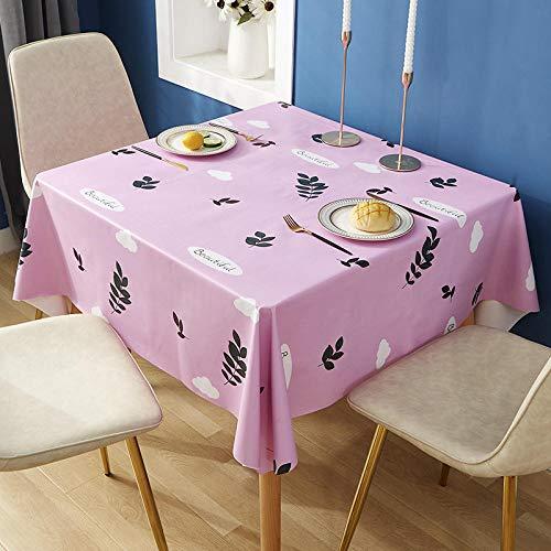 ZXCN Mantel de Mesa Manteles Impermeable PVC Casero Simple Manteles Rectangulares de Mesa de Café Manteles Rosa 120 × 170cm