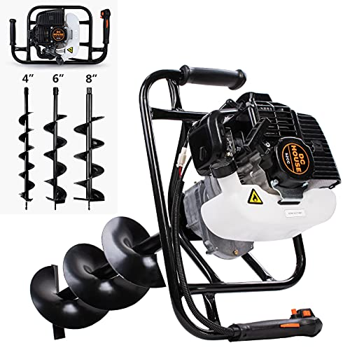 """Pumplus Gas Powered 52CC Post Hole Digger 4""""+ 6'+8' Earth Auger Drill Bits for Fence and Planting"""