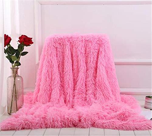 Martin Kench Kuscheldecke Felldecke Langhaar Decke Microfaser Kunstfell TV Decke Flauschig Klimaanlage Decke für Couch Bett Weiß (80 * 120cm,Pink)