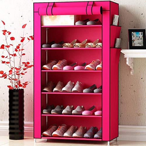 Gabinetes de zapatos no tejidos Tubo de acero reforzado Casa montado re zapato organizador espacio Sr moda zapato gabinete rojo 6L
