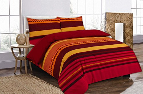 Linen Empire Ltd New Elegant Printed Benjamin Striped Design Reversible Duvet Covers & Bedding Set with Pillow Cases (Benjamin Red-Double)