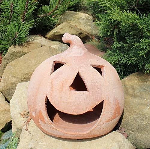 Zucca di Halloween Lanterna Terracotta (23cm) 100% made in Italy lavorato a mano al tornio (non a stampo) Porta candele interno casa esterno giardino