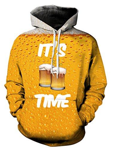 Leslady Unisex Herren Slim Fit 3D Druck Kapuzenpullover Kapuzen Sweatshirt Winter Hoodie Pullover(Large/X-Large, 5-Bier)