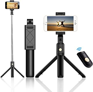 """iElements Selfie Stick Tripod with Detachable Bluetooth Wireless Remote Shutter 270"""" Rotating Multiple Angle Stainless Ste..."""