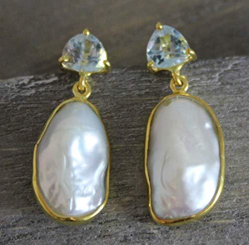 Blauer Topas und Zuchtperlen Tropfen vergoldet Sterling Silber Post Ohrringe