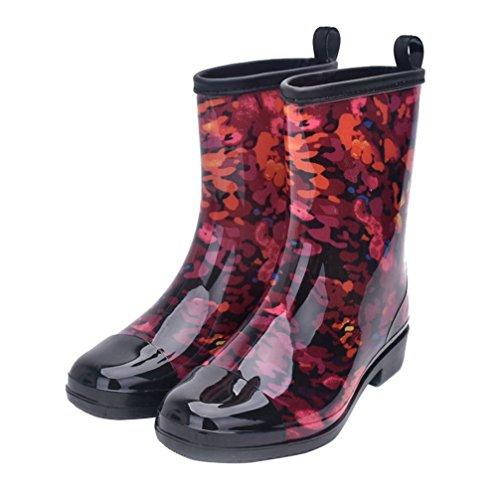 Women Half Calf Rubber Rainboots Floral Printed Waterproof Rubber for Garden Women rain Footwear Size 8.5