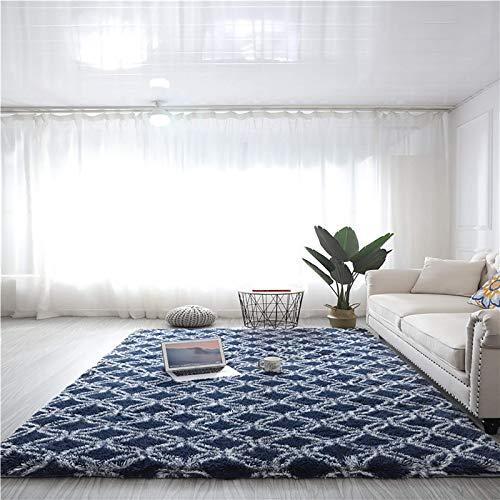 Modern luxuriöser Indoor Plüsch Flauschiger Bereich Teppich, extra weiche und bequeme Samt-SHAG-Teppichboden, geometrische marokkanische Teppiche für Schlafzimmer-Wohnzimmer-Carpet-Q 24x63inch (60x160