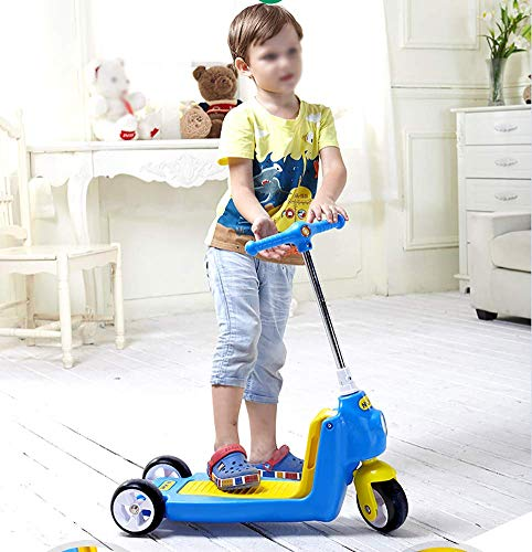 Best Buy! PLLP Child Foldable Scooter-Scooter Kick Adjustable 2-in-1 Kids for 2-6Yr Boys/Girls, Safe Shock Absorbing Kick Tricycle, Wide Pedal, Load 40Kg,Blue