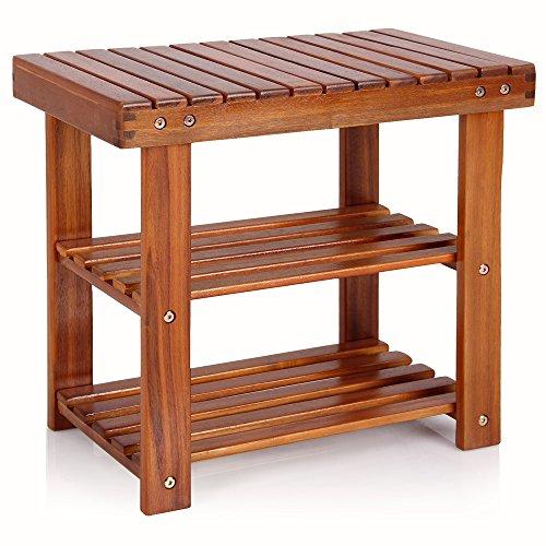 Deuba Schuhbank Schuhregal mit Sitzfläche Sitzbank Holz 3 Ebenen 50 x 46 x 30 cm Akazie Massiv Schuhablage Holzregal Bad