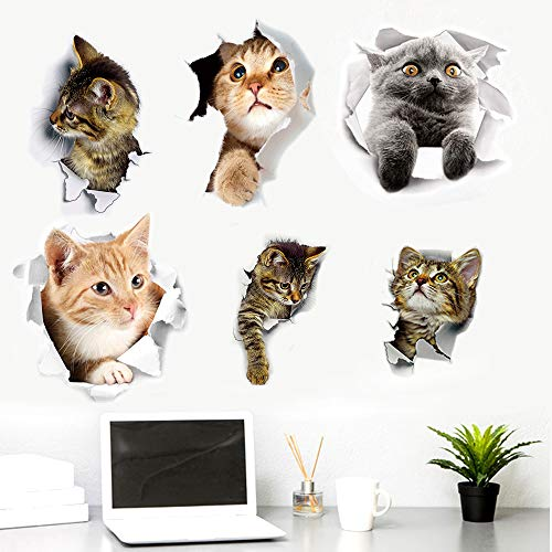 6 Sheets Cute Cats Wall Stickers Easy to Peel and Stick Cartoon Cat Wallpaper for Toilet Bathroom Kitchen Bedroom Nursery Car Party Favor Supplies Decoration PVC Accessories
