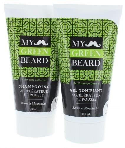 Bart Wachstumsbeschleuniger Shampoo + Gel - My Green Beard zur Bartpflege für schnelleres Bartwachstum, Bartpflege und Förderung des Bartwuchses, Bartwuchsmittel für einen kräftigen und vollen Bart