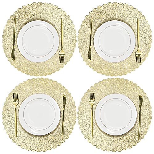 Olrla Round Gold PlaceMats Set of 4, Washable Dining Table Coffee Mats, PVC Durable Waterproof Non-slip Heat-resistant for Restaurant,Cafe, Home Kitchen Decoration (Bauhinia Golden,4)