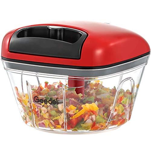 Picadora de Alimentos, Picadora Manual Fácil de Limpiar y Segura, Picadora de Verduras Rápida para Verduras, Frutas y Nueces