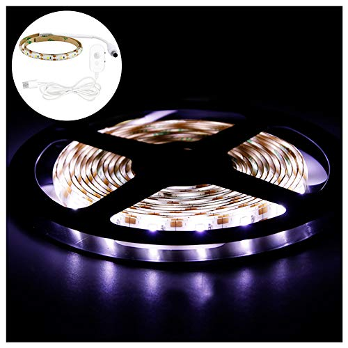 BORNET Luz De Tira LED/Inteligente Regulable 5V USB PIR Sensor De Movimiento Cinta Adhesiva Flexible Cinta Modo Día/Noche para Escaleras De Armario Armario De Cocina,White Light-0.5m