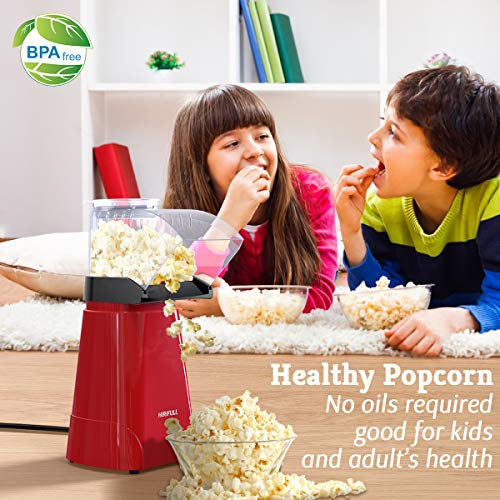 Product Image 3: HIRIFULL 1200W Hot Air Popcorn Poppers Machine, Home Electric Popcorn Maker with Measuring Cup, 3 Min Fast Popping, ETL Certified, BPA Free, No Oil, DIY Flavors, Great for Home Movie TV, Party(Red)