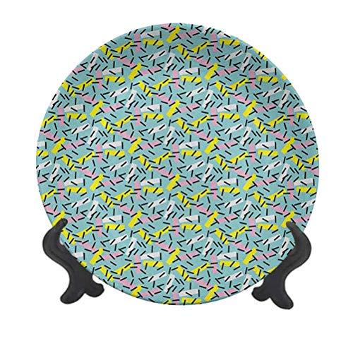 Plato decorativo geométrico de cerámica de 25,4 cm, estilo italiano, bandas de Memphis postmoderno Kitsch futurista abstracto, accesorio decorativo de pared de cerámica para comedor, fiestas, bodas