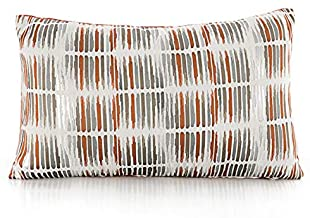 Blugeo Fall Autumn Christmas Lumbar Throw Pillow Covers High-end Turkish Sofa Couch Support Pillowcases with Polyester Silk Jacquard Ottoman 12inchx20inch (White Orange Grey)